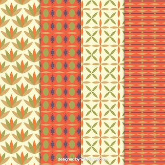Retro patterns in orange and beige tones