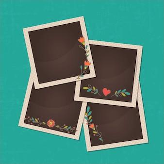 レトロ写真は花飾りとコレクションフレーム
