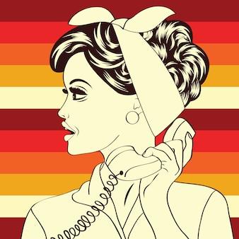 Retro pop art illustration of woman at telephone