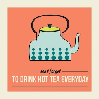 Retro poster with kettle