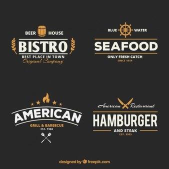 Retro restaurant badges