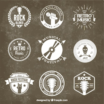 Retro rock festival badges