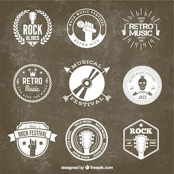 Retro rock festival badges