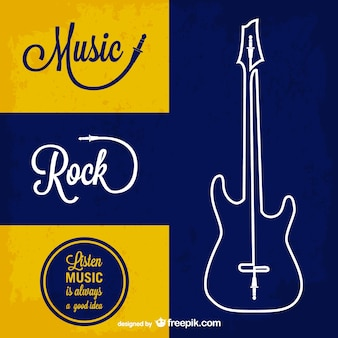 Retro rock music and outlined guitar