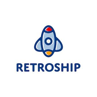 レトロ船ロケットロゴ