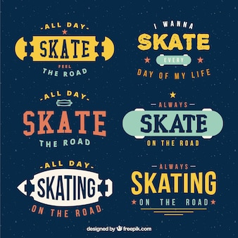 Retro skate badges set