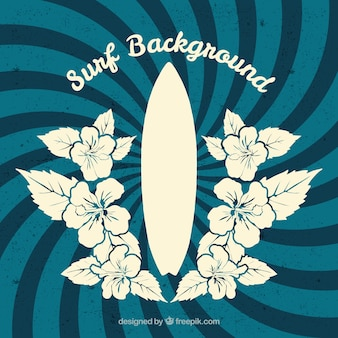 Retro spiral background with hand drawn flowers and surfboard