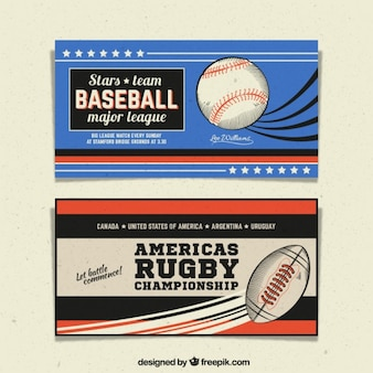 Retro sport banners with drawings