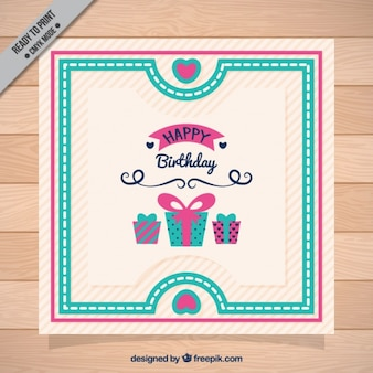 Retro stripes card and birthday gifts