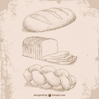 Retro style bread drawings
