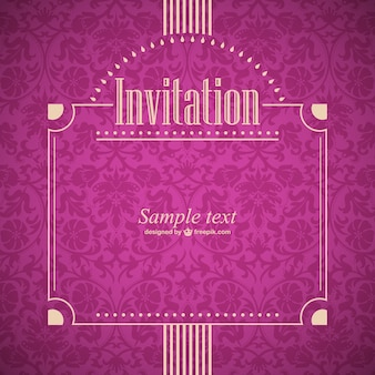 Retro style burgundy invitation