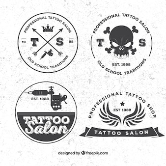 Retro tattoo badges pack