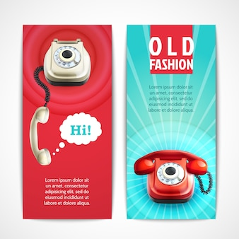 Retro telephone banners set