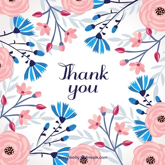 Retro thank you background with flowers