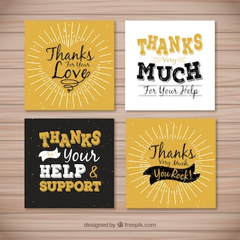 Retro thank you cards set