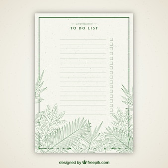 Retro to do list with green vegetation