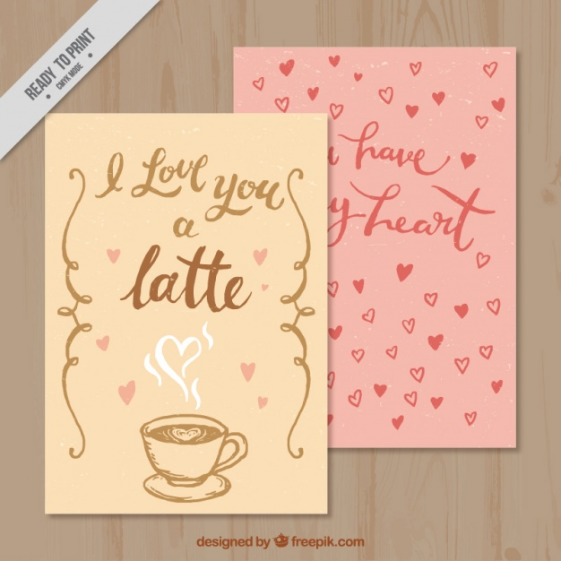 Retro valentine cards with coffee and hearts