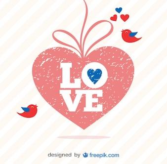 Retro Valentine's Day Grunge Heart Vector