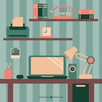 Retro wallpaper office space flat design