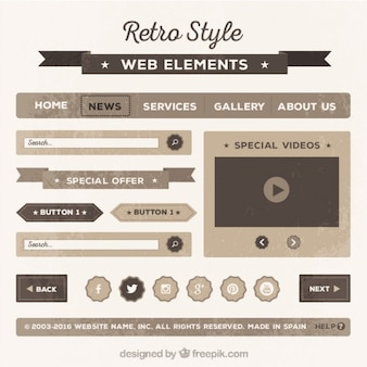 Retro web element collection