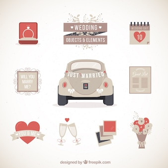 Retro wedding car with other elements
