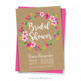 Retro wedding card with floral wreath
