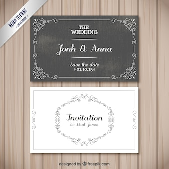 レトロな結婚式のカード