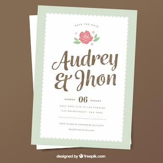 装飾花とレトロ結婚式の招待状
