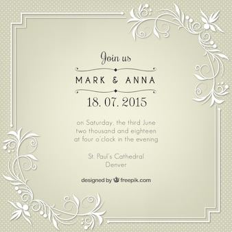 Retro wedding invitation with floral details