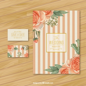 Retro wedding invitation with roses