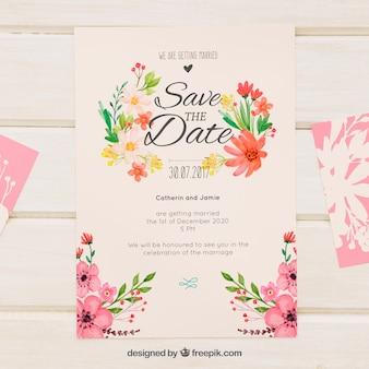 Retro wedding invitation with watercolor flowers