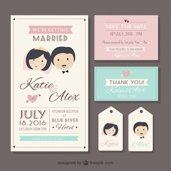 Retro wedding stationery in cute style