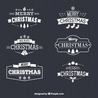 Retro white christmas badges