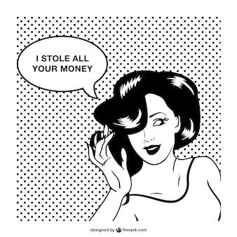 レトロな女性漫画風デザイン