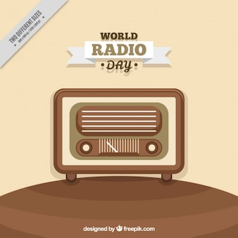 Retro world radio day background