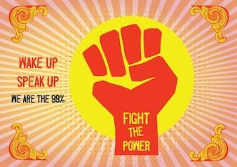 Revolution with hand raised