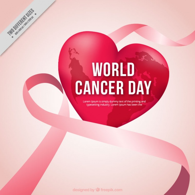 Ribbon background and heart of cancer day