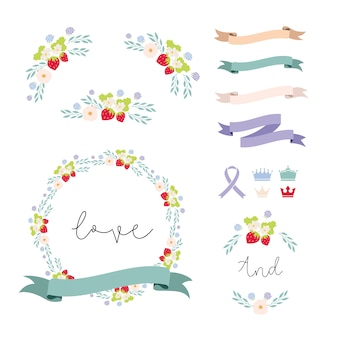 Ribbons and  floral elements collecti