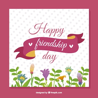 Riendship day card with flowers