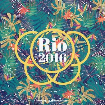 Rio 2016 background with leaves