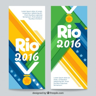 Rio 2016 banners with a medal