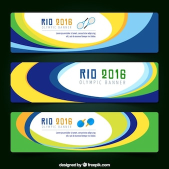 Rio 2016 banners with colors circles