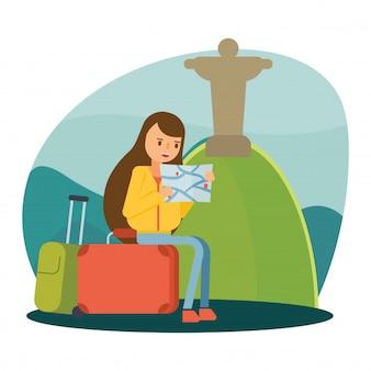 Rio de janeiro jesus statue travel vacation cartoon character