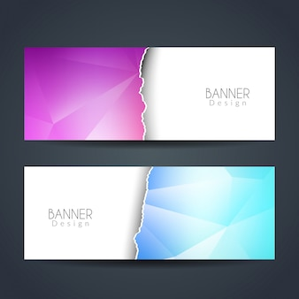 Ripped paper style colorful banners