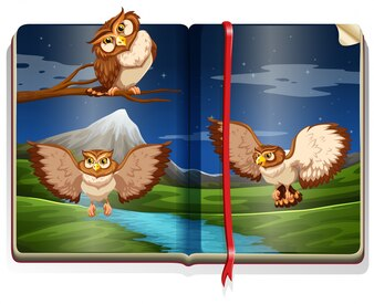 River scene with three owls in the book