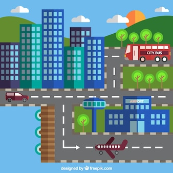 Road and buildings background in flat design