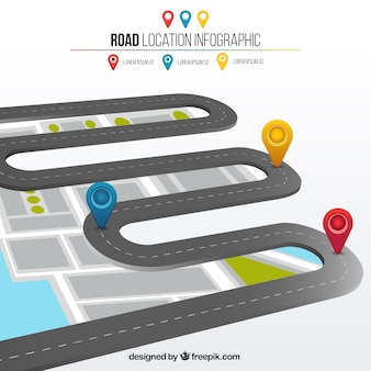 Road location 3d infographic