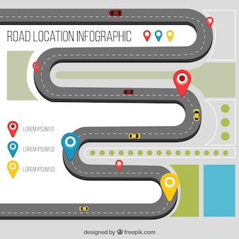 Road location infographic in flat style