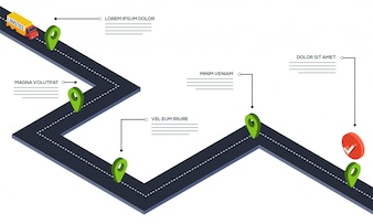 Road map navigaion. 3D Illustration.