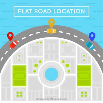 Road map with colored cars in flat design